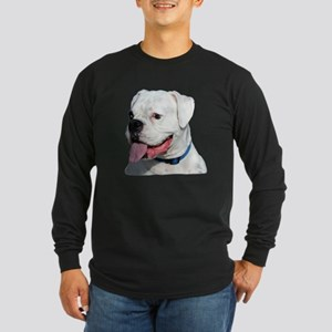 White Boxer Dog Long Sleeve Dark T-Shirt