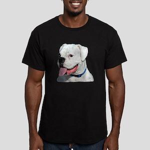 White Boxer Dog Men's Fitted T-Shirt (dark)
