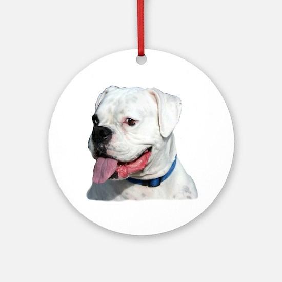White Boxer Dog Ornament (Round)