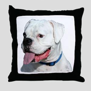 White Boxer Dog Throw Pillow