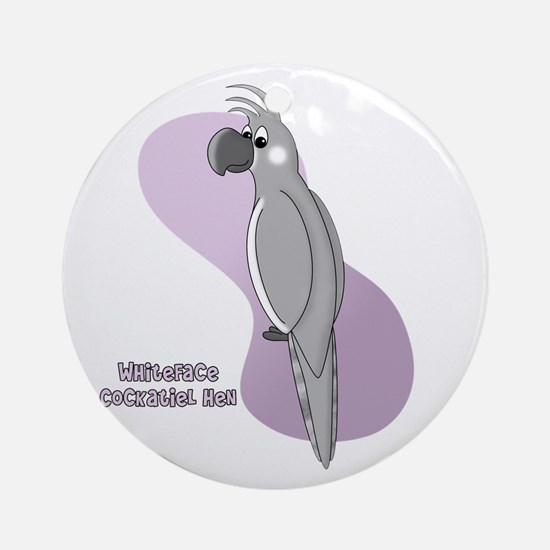 Female Whiteface Cockatiel Ornament (Round)