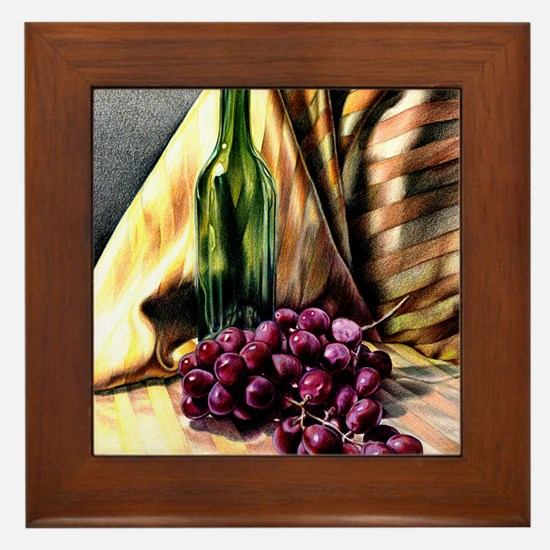 Gold & Grapes Framed Tile