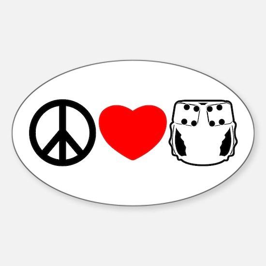 Peace, Love, Cloth Oval Decal