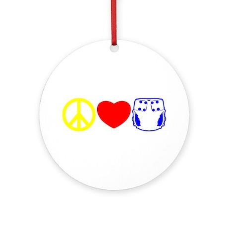 Peace, Love, Cloth Primary Ornament (Round)