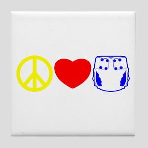 Peace, Love, Cloth Primary Tile Coaster