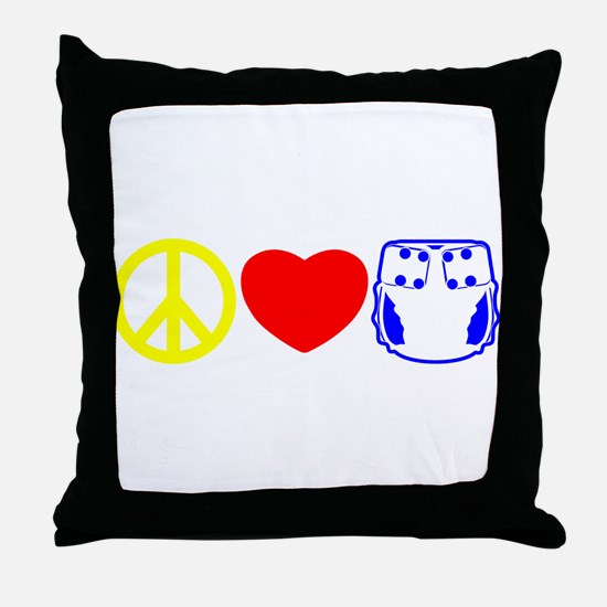 Peace, Love, Cloth Primary Throw Pillow