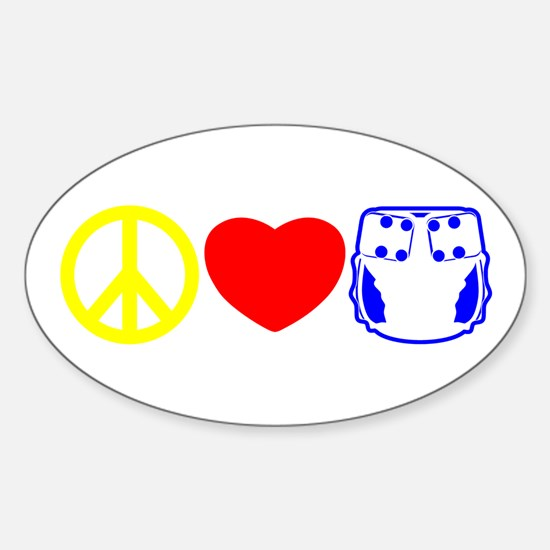 Peace, Love, Cloth Primary Oval Decal