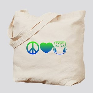 Peace, Love, Cloth Blue/Green Tote Bag