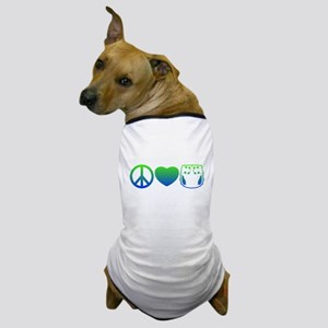 Peace, Love, Cloth Blue/Green Dog T-Shirt