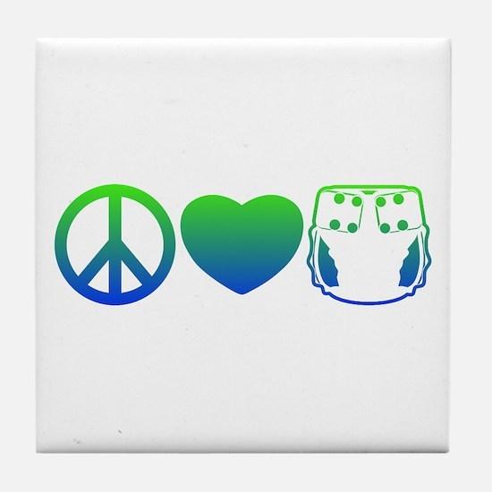 Peace, Love, Cloth Blue/Green Tile Coaster