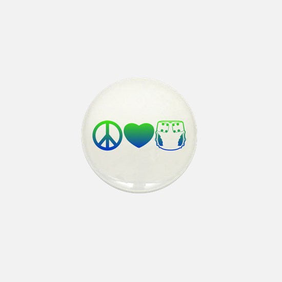 Peace, Love, Cloth Blue/Green Mini Button
