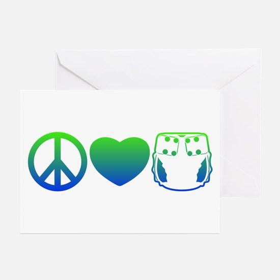 Peace, Love, Cloth Blue/Green Greeting Cards (Pk o