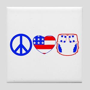 Peace, Love, Cloth Tile Coaster