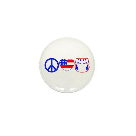 Peace, Love, Cloth Mini Button