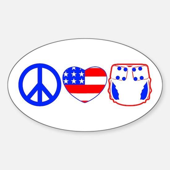 Peace, Love, Cloth Sticker (Oval)