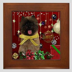 Holiday Cairn Terrier Framed Tile