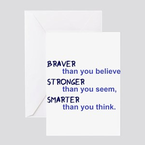 inspire quote - braver stronger sma Greeting Cards