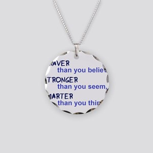 inspire quote - braver stron Necklace Circle Charm