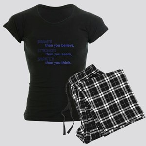 inspire quote - braver stronger smarter Pajamas