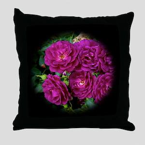 Classic Midnight Blue Rose Throw Pillow
