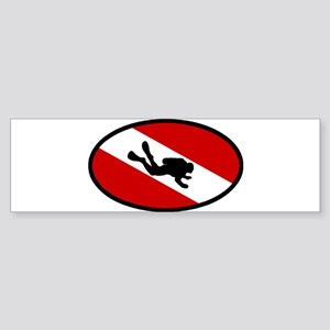 Diver Down Flag Diver Bumper Sticker