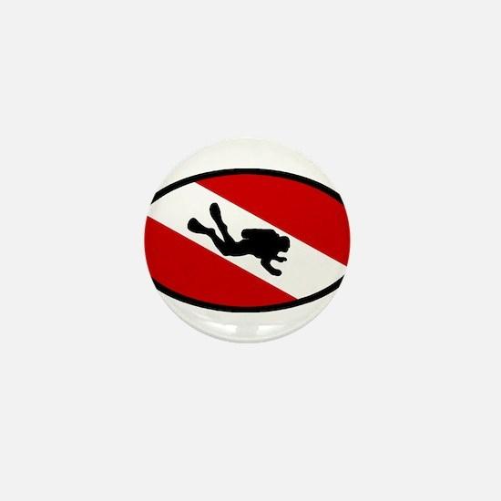 Diver Down Flag Diver Mini Button