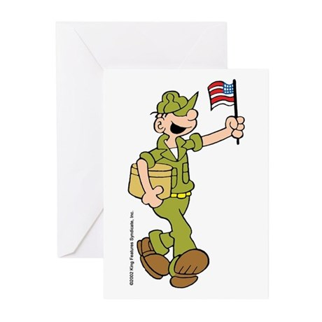 Flag-waving Beetle Greeting Cards (Pk of 10)