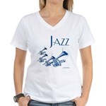 Jazz Trumpet Blue Women's V-Neck T-Shirt