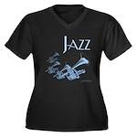 Jazz Trumpet Blue Women's Plus Size V-Neck Dark T-