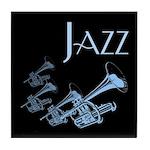Jazz Trumpet Blue Tile Coaster
