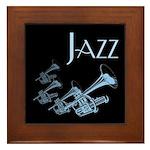Jazz Trumpet Blue Framed Tile