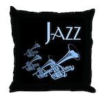 Jazz Trumpet Blue Throw Pillow