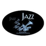 Jazz Trumpet Blue Oval Sticker (50 pk)