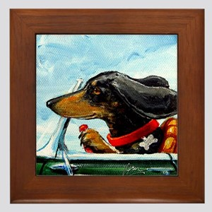 Dachshund Takes the Wheel Framed Tile