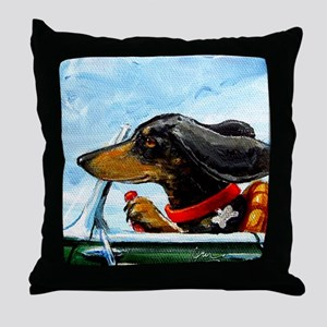 Dachshund Takes the Wheel Throw Pillow