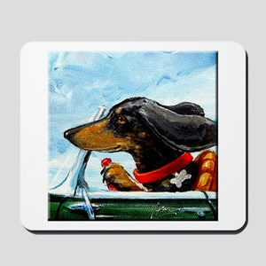 Dachshund Takes the Wheel Mousepad