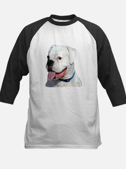 White Boxer Dog Kids Baseball Jersey
