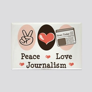 Peace Love Journalism Rectangle Magnet