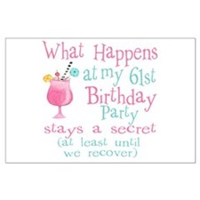61st Birthday Party Large Poster