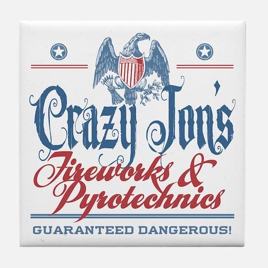 Crazy Jon's Funny Fireworks Company Tile Coaster