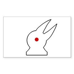 Albino Rabbit/Crow Rectangle Decal