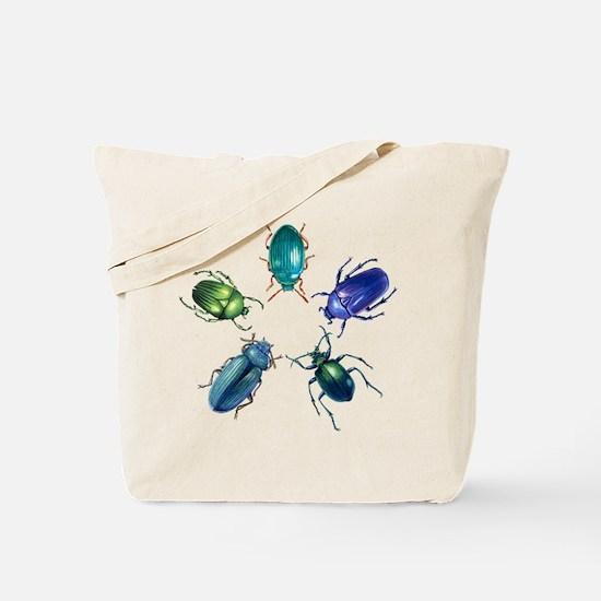 Five Shiny Beetles Tote Bag
