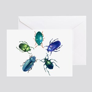 Five Shiny Beetles Greeting Card