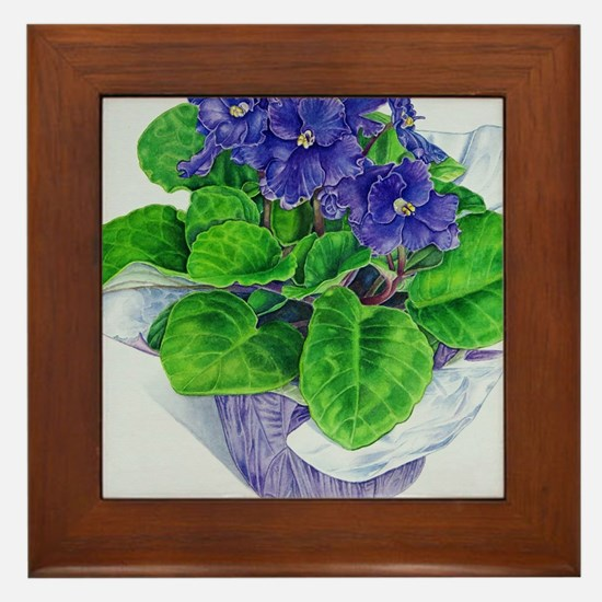 Unique Purple violets Framed Tile