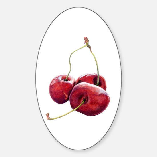 Three Cherries Oval Decal