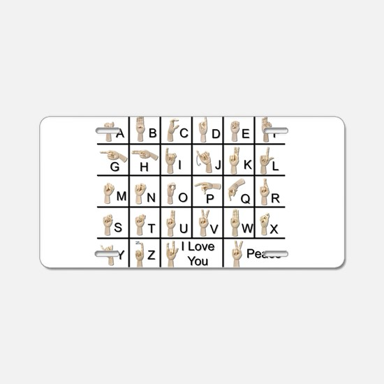 AmeslanAlphabet120710.png Aluminum License Plate