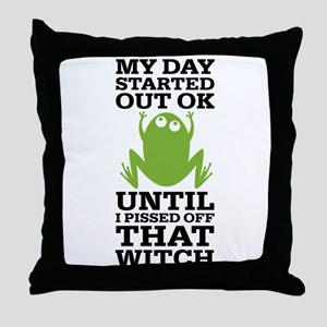 Funny Frog Mean Witch Throw Pillow