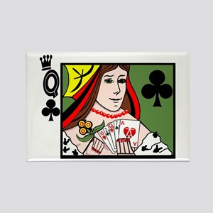 Strip Poker Queen of Clubs Rectangle Magnet