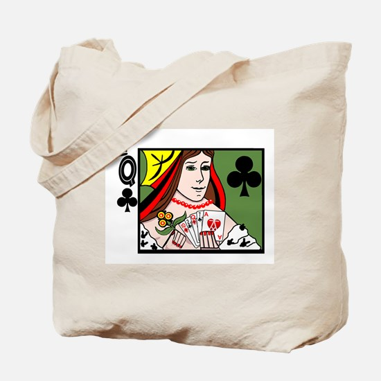 Strip Poker Queen of Clubs Tote Bag