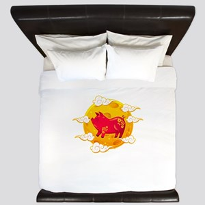 Chinese New Year 2019 Year of the Pig D King Duvet